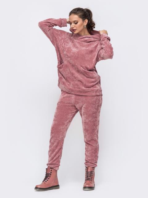 Брючный костюм большого размера из велюра розовый 51477, фото 1