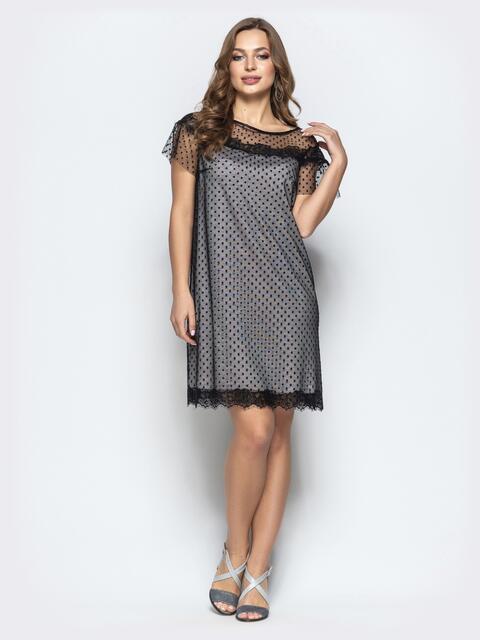 76718380848 Чёрное платье с фатиновым верхом и низом из двунитки - 22263