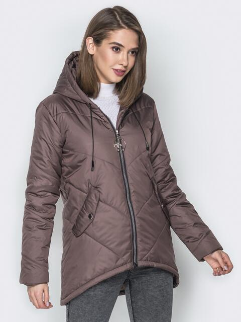 Коричневая куртка с удлиненной спинкой и капюшоном - 20080, фото 1 – интернет-магазин Dressa