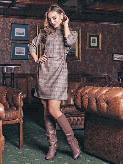 Платье в клетку с резинкой на поясе - 19135, фото 1 – интернет-магазин Dressa