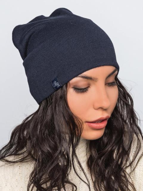Шапка-бини тёмно-синего цвета - 42210, фото 1 – интернет-магазин Dressa
