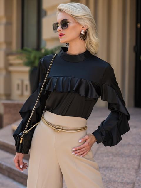 Шелковая блузка с оборкой по лифу и рукавам чёрная 49438, фото 1