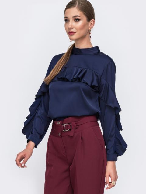 Шелковая блузка с оборкой по лифу и рукавам тёмно-синяя 49439, фото 1