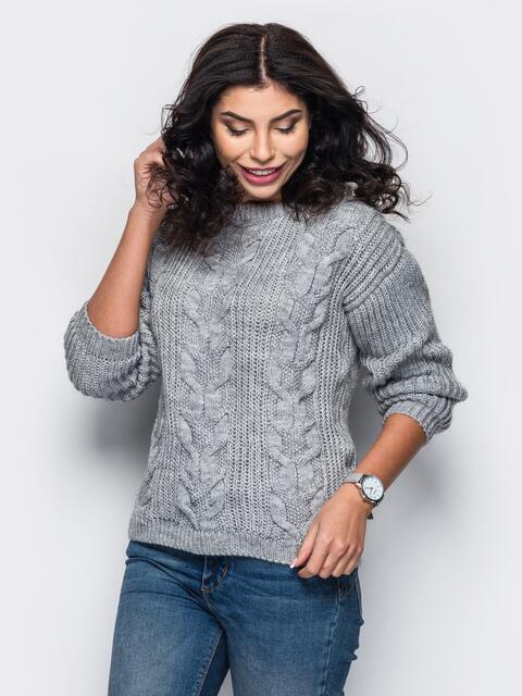 Свитер с вязаными косами на полочке серый - 13054, фото 1 – интернет-магазин Dressa