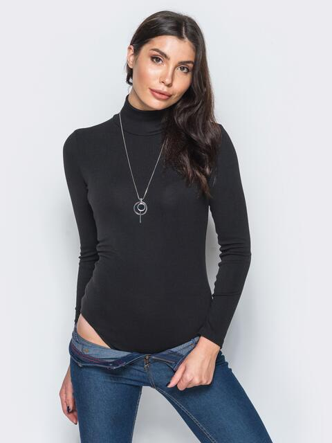 Боди черного цвета из вискозы на кнопках - 17533, фото 1 – интернет-магазин Dressa