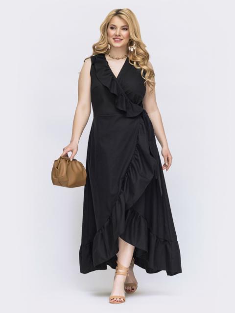 Черное платье на запах большого размера 47809, фото 1