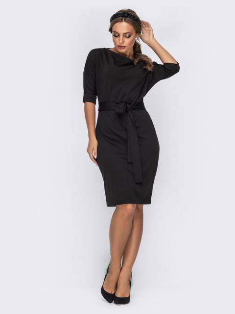 """Чёрное платье с укороченными рукавами и вырезом """"лодочка"""" 42394, фото 1"""