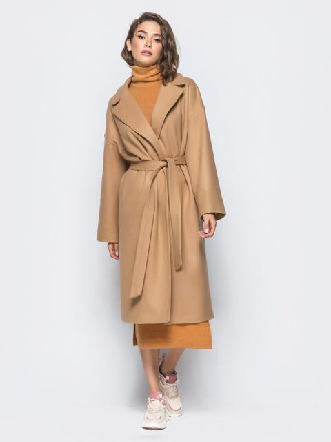 Пальто oversize из шерстяных и акриловых волокон бежевое - 16562, фото 1 – интернет-магазин Dressa