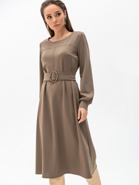 Платье из джерси цвета хаки с расклешенной юбкой 51340, фото 1