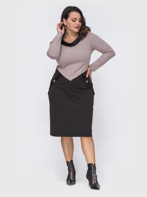 Приталенное платье батал с контрастным верхом черное 52085, фото 1