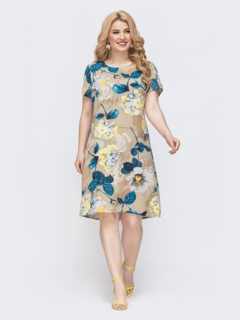 Приталенное платье батал с принтом бежевое 46369, фото 1
