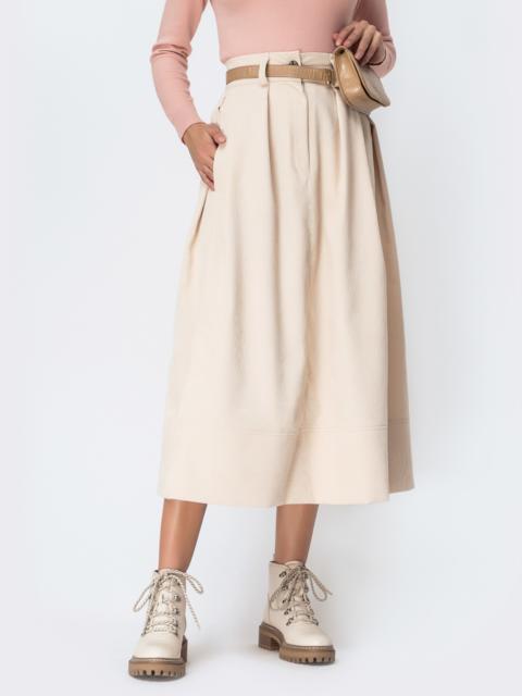 Расклешенная юбка из вельвета бежевого цвета - 42385, фото 1 – интернет-магазин Dressa