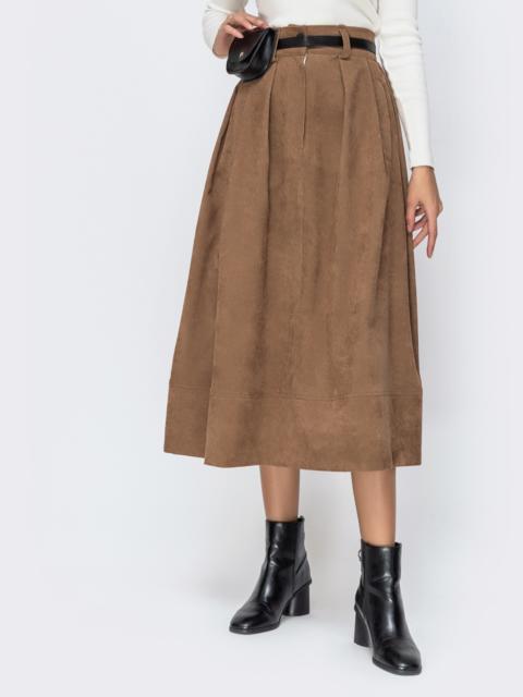 Расклешенная юбка из вельвета бежевого цвета - 42387, фото 1 – интернет-магазин Dressa