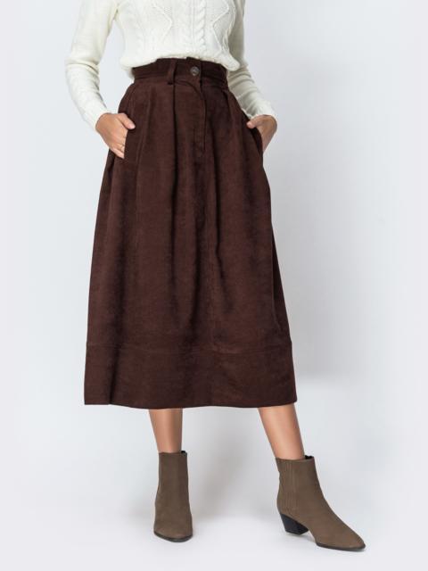 Расклешенная юбка из вельвета коричневого цвета - 42386, фото 1 – интернет-магазин Dressa