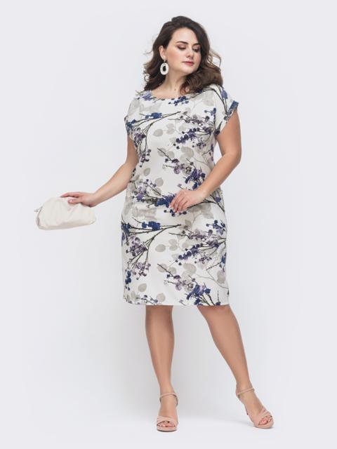 Серое платье батал приталенного кроя с принтом - 46372, фото 1 – интернет-магазин Dressa