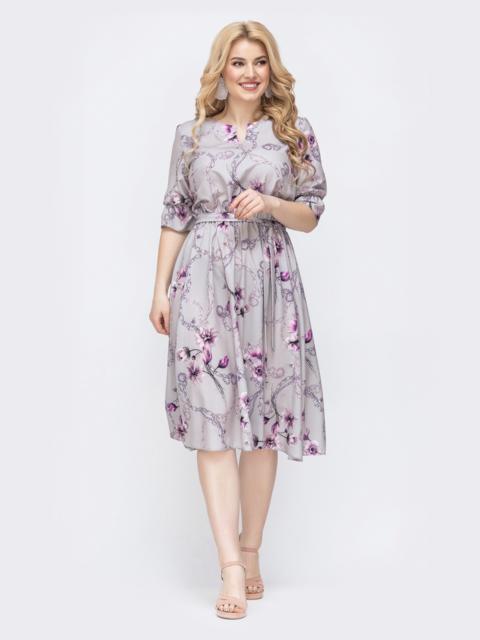 Серое платье батал с принтом и расклешенной юбкой 46374, фото 1