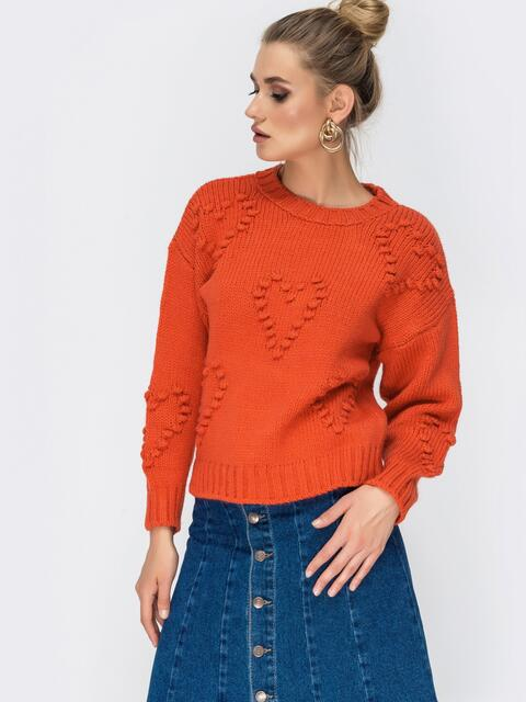 Свитер из шерсти с акрилом и объемным узором оранжевый - 41814, фото 1 – интернет-магазин Dressa