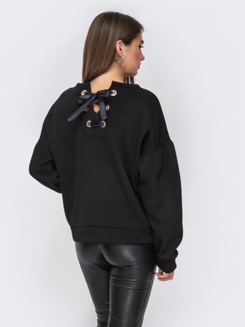 Свитшот чёрного цвета со шнуровкой по спинке - 42113, фото 1 – интернет-магазин Dressa