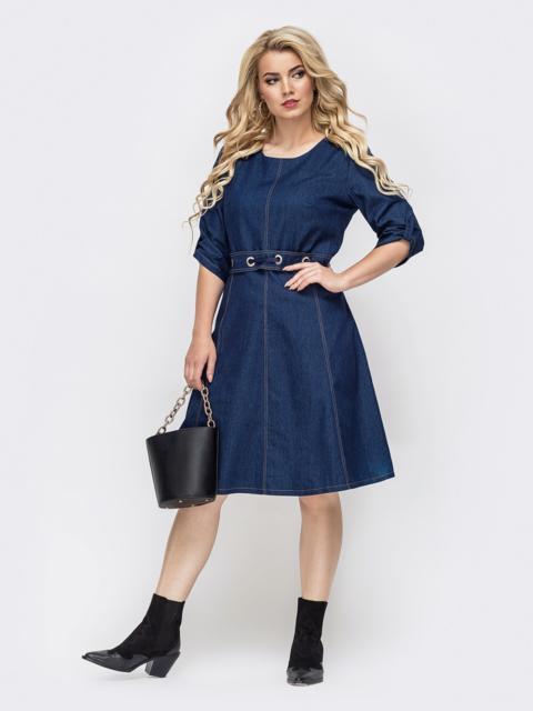Тёмно-синее платье батал из джинса 50776, фото 1