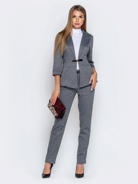 Брючный комплект серого цвета с приталенным жакетом - 40890, фото 1 – интернет-магазин Dressa
