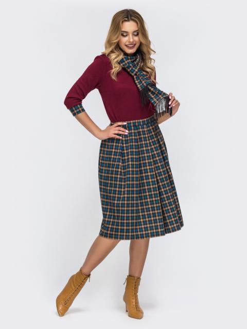 Комплект из кофты и юбки в клетку бордовый - 42737, фото 1 – интернет-магазин Dressa