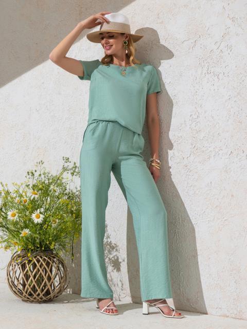 Комплект мятного цвета из прямой блузки и брюк-клеш - 49331, фото 1 – интернет-магазин Dressa