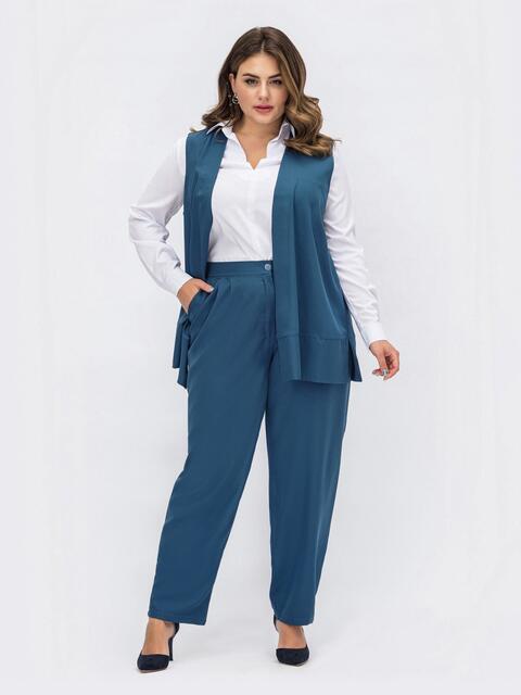 Костюм большого размера с жилетом и брюками синий 54079, фото 1