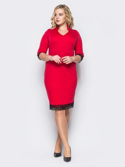 0336e9d3df79da6 Платье красного цвета с кружевной тесьмой по низу - 17064, фото 1 –  интернет-