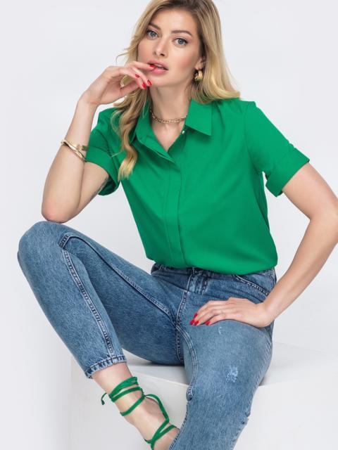 Зелёная рубашка с коротким рукавом и супатной застёжкой 48599, фото 1