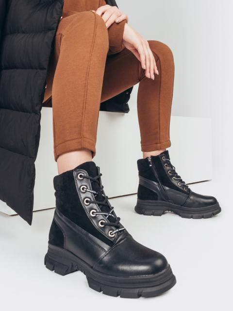Зимние ботинки с замшевыми вставками черные 51751, фото 1