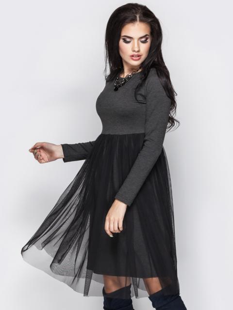 Серое платье с фатиновой юбкой 13713, фото 1