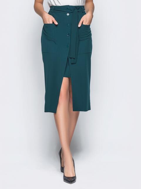 Двойная юбка с накладными карманами зелёная - 16545, фото 1 – интернет-магазин Dressa