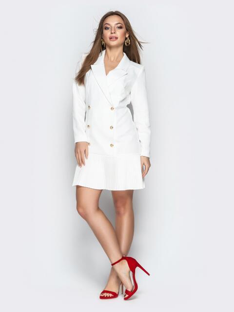 Двубортное платье-пиджак с плиссированной юбкой белое - 21208, фото 1 – интернет-магазин Dressa