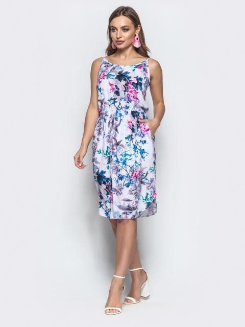 Платье на узких бретелях с цветочным принтом синее - 21609, фото 1 – интернет-магазин Dressa