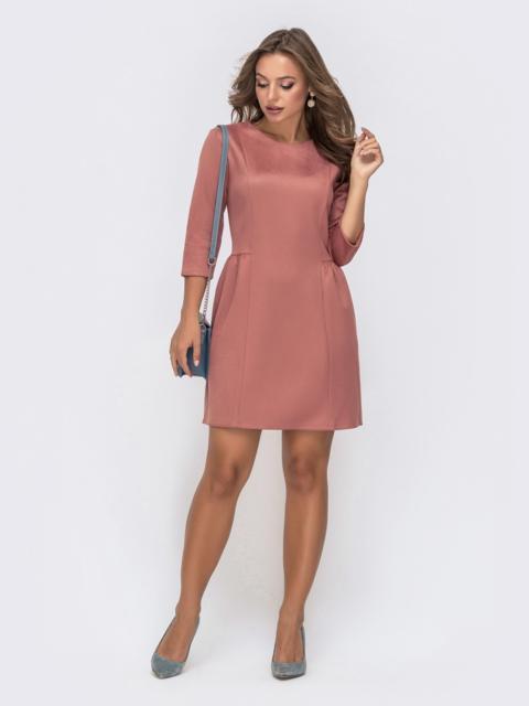 Приталенное платье-мини с замшевым напылением пудровое 41321, фото 1