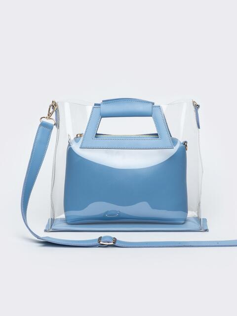 e3d016461346 Прозрачная сумка со съемной косметичкой голубого цвета - 22101, фото 1 –  интернет-магазин