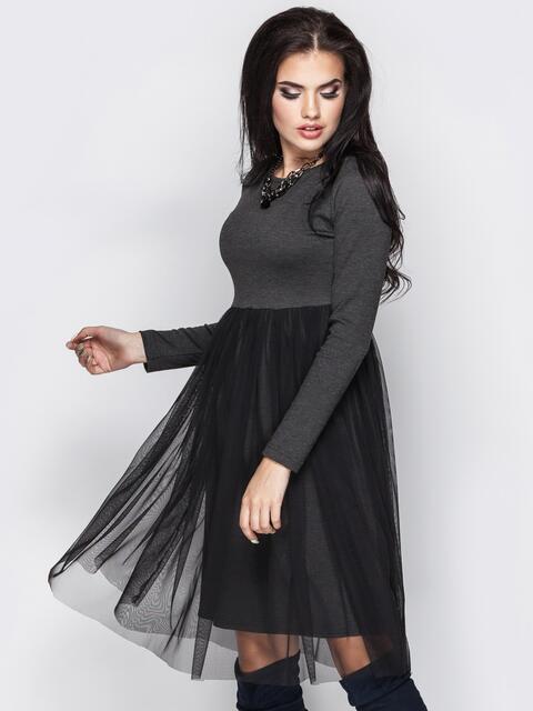 Серое платье с фатиновой юбкой - 13713, фото 1 – интернет-магазин Dressa
