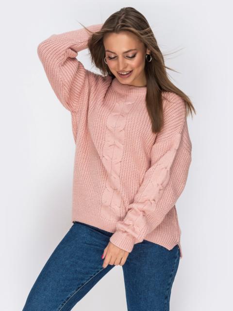 Свитер розового цвета с удлиненной спинкой - 41806, фото 1 – интернет-магазин Dressa