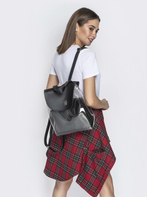 Трендовый прозрачный рюкзак с чёрной косметичкой - 21458, фото 1 – интернет-магазин Dressa