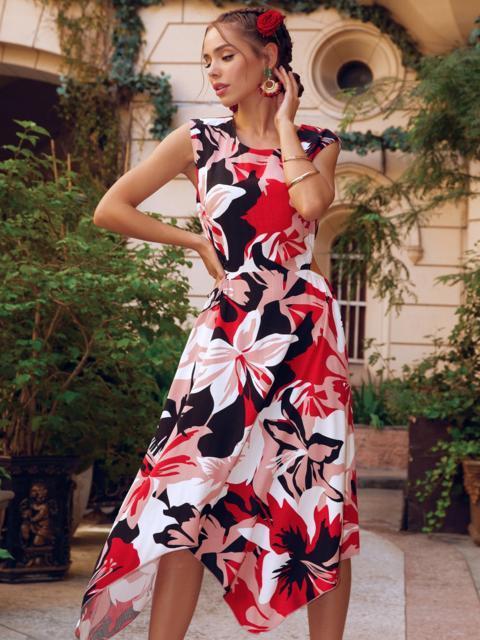 Асимметричное платье из шатапеля с цветочным принтом коралловое 53879, фото 1