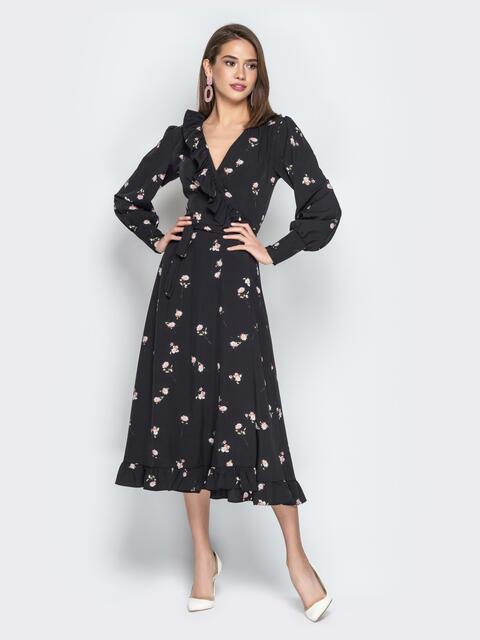 Чёрное платье-халат с принтом с оборкой по вырезу - 21117, фото 1 – интернет-магазин Dressa