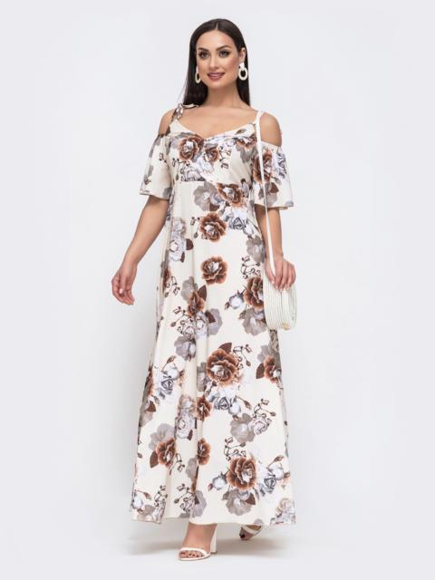 Длинное платье батал с принтом бежевое 46101, фото 1
