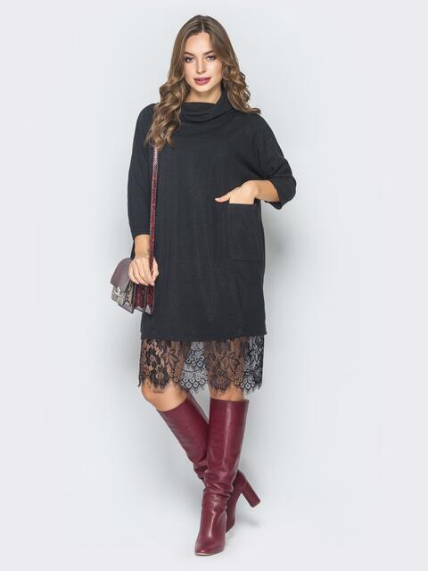 Двойное платье с платьем-комбинацией черное - 19169, фото 1 – интернет-магазин Dressa