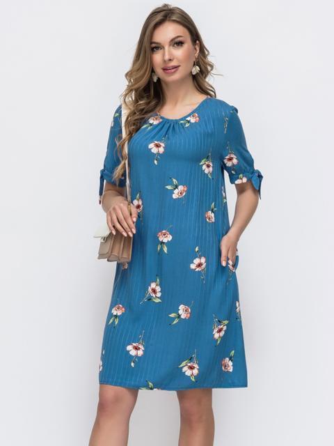 Голубое платье А-силуэта в принт с коротким рукавом 48902, фото 1