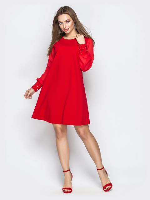 Красное платье с фатиновыми рукавами и жемчужинами на манжетах - 20609, фото 1 – интернет-магазин Dressa