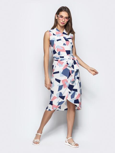 Платье-халат с принтом и закругленным низом белое - 21579, фото 1 – интернет-магазин Dressa