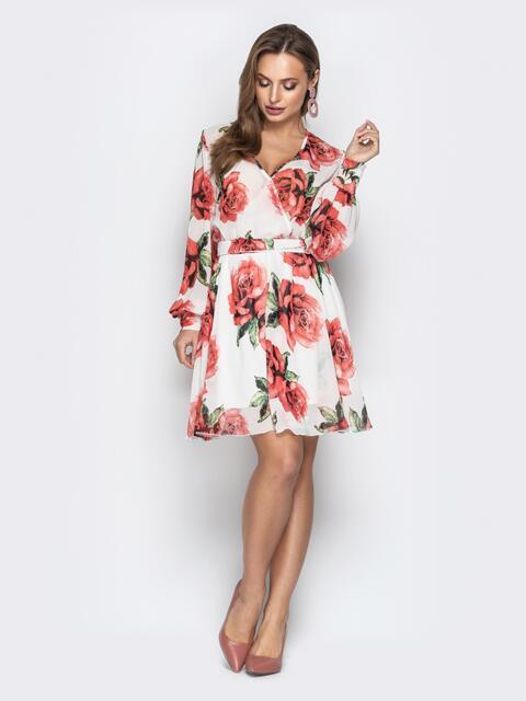 Платье из шифона с резинкой по талии белое - 21114, фото 1 – интернет-магазин Dressa