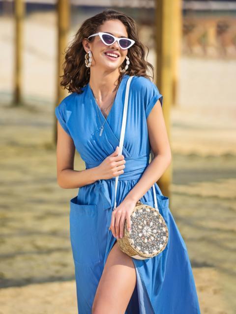 Платье на запах с накладными карманами синее - 38465, фото 1 – интернет-магазин Dressa