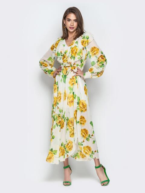Принтованное платье из шифона с V-вырезом и воланом белое - 21116, фото 1 – интернет-магазин Dressa