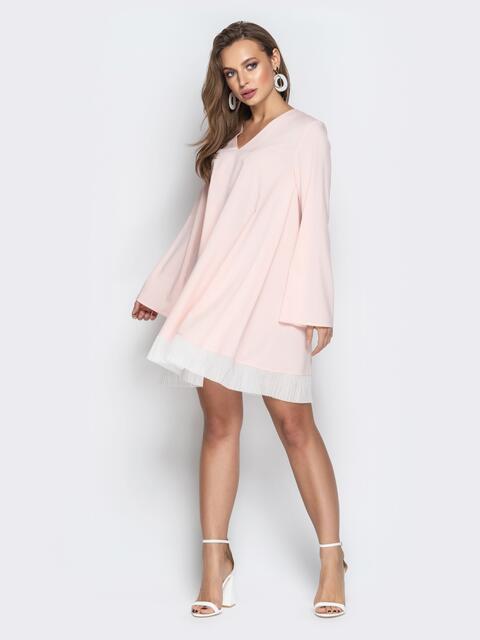 Пудровое платье oversize с контрастной вставкой по низу - 21112, фото 1 – интернет-магазин Dressa